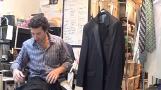Y4384 Stafford Formal Wear Mens Black Tuxedo Suit 46 R