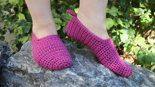 Следки крючком с высокой пяткой Crochet Slippers For Beginners   Вяжем по схемам