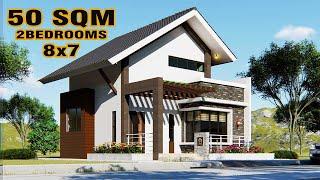 Small House Design LOFT TYPE  2-Bedroom (8x7 Meters)