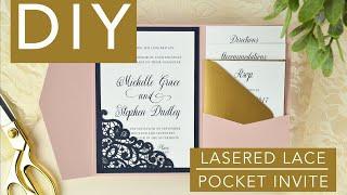 Lace Laser-Cut Pocket Wedding Invitation - DIY Assembly