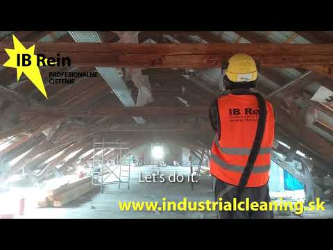 Dry ice cleaning of wooden trusses. Čistenie drevených trámov suchým ľadom