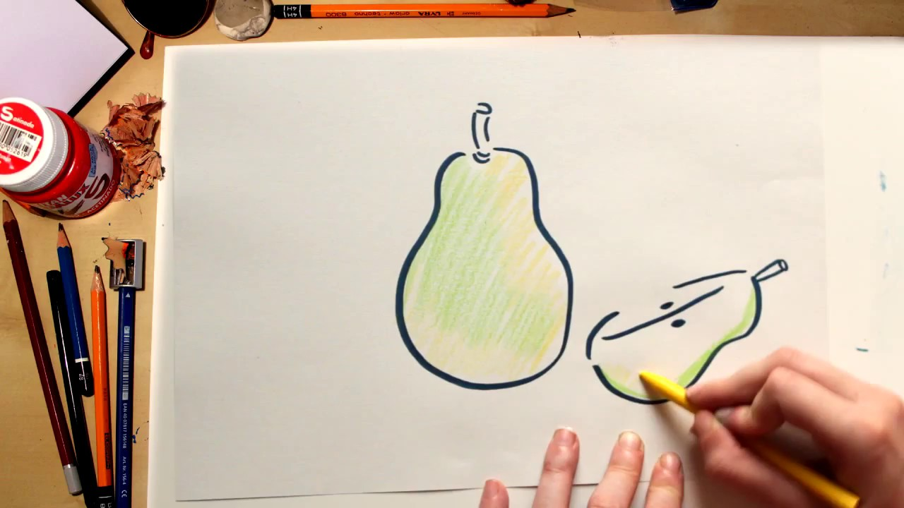 Como desenhar uma Pera - desenhos de frutas para crianças