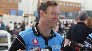 Colin Ingram spoke to media at Adelaide Airport before the Strikers flew to Melbourne