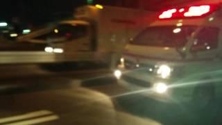 上尾市消防本部上尾消防署原市分署救急車緊急走行同じく原市分署ポンプ車、上尾警察署所轄PC3帰署
