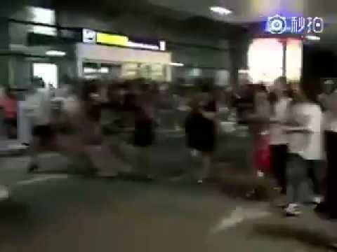 Zombie apocalypse scene at Yuncheng airport while waiting for Kris Wu