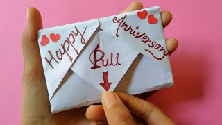 DIY - Surprise Message Card   A Beautiful Anniversary Card Idea   Pull Tab Origami Envelope Card