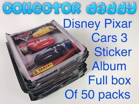 Disney Pixar Cars 3 Sticker Collection Full Box Of 50 Packs