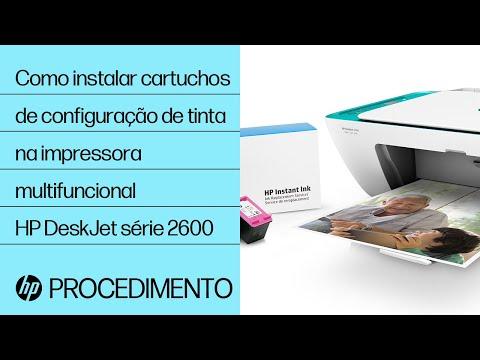 Como instalar cartuchos de configuração de tinta na impressora multifuncional HP DeskJet série 2600