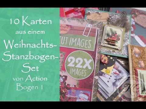 10 Karten aus 1 Weihnachts-Stanzbogen-Set von ACTION Bogen 1