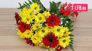 Video Buchet de crizanteme galbene si gerbera rosii
