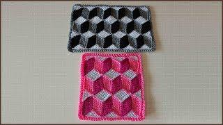 Коврик 3D. Коврик крючком. Тунисское вязание. Вязание коврика. Ч. 1 (3D rug. P. 1)