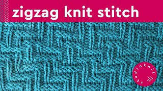 Diagonal Chevron Zigzag Stitch Knitting Pattern For Beginners
