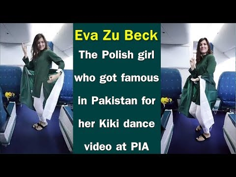 Eva zu Beck doing viral Kiki dance challenge on Airplane in Pakistan