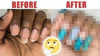 Nail Transformation - The Most Amazing Ocean Blue Nail Art - Tutorial