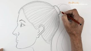 How to draw a Girl's Face: Side View  -  Beginners