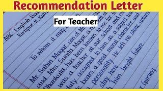 Writing a Letter of Recommendation |Beautiful English Handwriting | Recommendation letter| Eng Teach