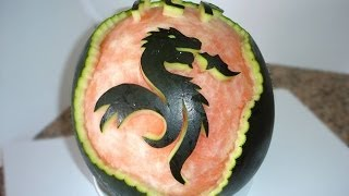 DRAGON FCP CARVED IN WATERMELON - By J.Pereira Art Carving Fruit