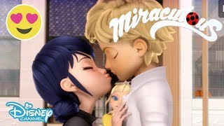 Miraculous Ladybug | Ladybug and Cat Noir Near Kisses Compilation 💋 | Disney Channel UK