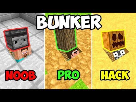 MINECRAFT NOOB VS PRO: BUNKER APOCALIPTICO SECRETO 😱 3 NOOB VS CONSTRUIR BUNKER 😯