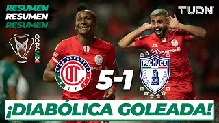 Resumen y Goles   Toluca 5 - 1 Pachuca   Copa Mx 2020 - Cuartos de Final   TUDN