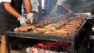 Italian Ribs Festival. MAXI Grill of Ribs, Sausages and Skewers. Italy Street Food