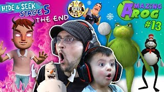 HELLO NEIGHBORS Son is Evil!  Hide n Seek Finale turns into Amazing Frog #13 (Snowman Smash)