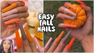 DIY Nails: Fall Colors Matte Long Coffin Design 🍁🍂🎃