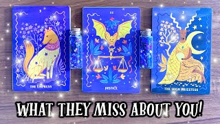 Pick A Card *WHAT THEY MISS ABOUT YOU!!* 🔮 🥺 💜  Psychic Tarot Card Charms Pendulum Reading