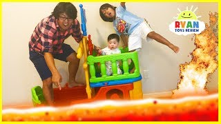 THE FLOOR IS LAVA CHALLENGE! Ryan ToysReview Family Fun Kids Pretend Playtime | Kholo.pk