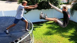 DONT Get Thrown off the Trampoline TOWER!! (EXTREME SURVIVAL)