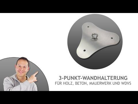 3-Punkt Wandhalterung für Holz, Mauerwerk, WDVS - für große & schwere Sonnensegel