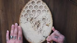 Honeybee Pyrogragraphy /adding color to Pyro art with colored pencil / pointillism pyrography