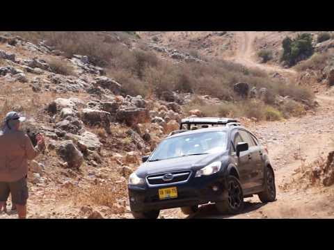 Subaru XV and Toyota Land Cruiser in Israeli offroad playground