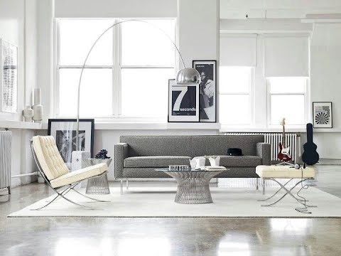 Living space with polished concrete floors