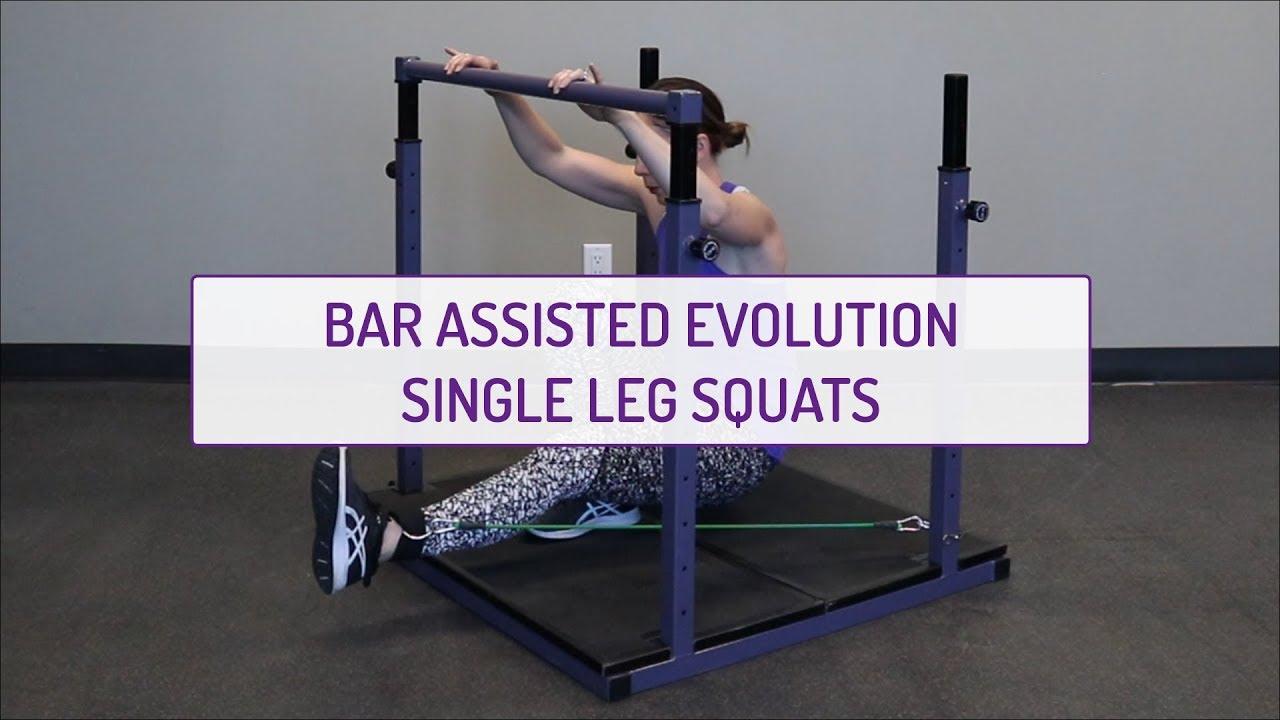 Bar Assisted Evolution Single Leg Squats
