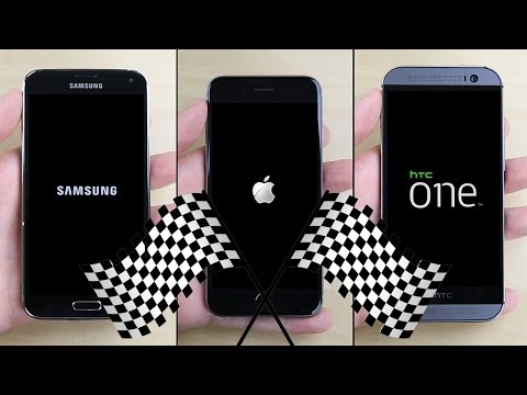 which is better iphone or samsung سباق السرعة بين iphone 6 htc one m8 galaxy s5 آيفون 2305