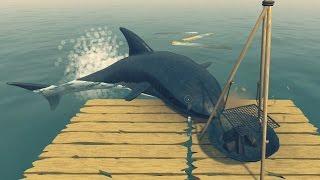 БОМЖ В ОКЕАНЕ! Нападение акулы на человека! ✪ The RAFT