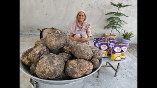 ELEPHANT FOOT YAM Cooking | Elephant Foot Yam Fry and Gravy | Jimikand Recipe | Village Cooking