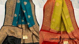 #35 Pure Handloom Banarasi Tussar Silk Sarees    Trendy Banaras On J.Anusha Latest Fashions  