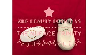 Side by side comparison demo of Ziip Beauty device and the Nuface Trinity
