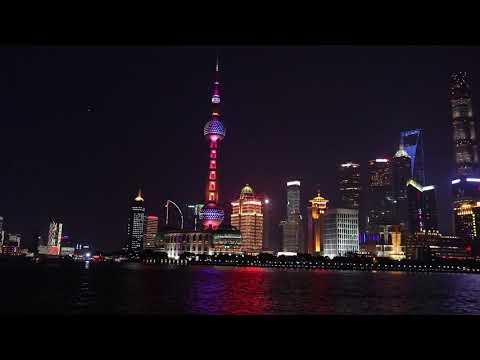 шанхай 2017 небоскребы ночью на набережной shanghai night light skyscrapers