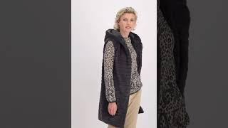 Vorschau: Lange Fake Fur Weste mit Kapuze