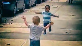 Toddler Besties Share Huge Hug On Sidewalk