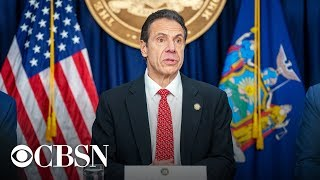 New York Governor Andrew Cuomo is giving an update Tuesday on the state's response to the coronavirus pandemic. Cuomo said Monday there are signs the hard-hit state is reaching the apex as the number of people who died from coronavirus has remained flat for the second day in a row.  Follow live updates: https://www.cbsnews.com/coronavirus/  -- Subscribe to the CBS News Channel HERE: http://youtube.com/cbsnews Watch CBSN live HERE: http://cbsn.ws/1PlLpZ7c Follow CBS News on Instagram HERE: https://www.instagram.com/cbsnews/ Like CBS News on Facebook HERE: http://facebook.com/cbsnews Follow CBS News on Twitter HERE: http://twitter.com/cbsnews  Get the latest news and best in original reporting from CBS News delivered to your inbox. Subscribe to newsletters HERE: http://cbsn.ws/1RqHw7T  Get your news on the go! Download CBS News mobile apps HERE: http://cbsn.ws/1Xb1WC8  Get new episodes of shows you love across devices the next day, stream CBSN and local news live, and watch full seasons of CBS fan favorites like Star Trek Discovery anytime, anywhere with CBS All Access. Try it free! http://bit.ly/1OQA29B  --- CBSN is the first digital streaming news network that will allow Internet-connected consumers to watch live, anchored news coverage on their connected TV and other devices. At launch, the network is available 24/7 and makes all of the resources of CBS News available directly on digital platforms with live, anchored coverage 15 hours each weekday. CBSN. Always On.