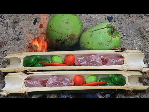 Primitive Technology: Cooking Beef in Bamboo with Coconut in forest