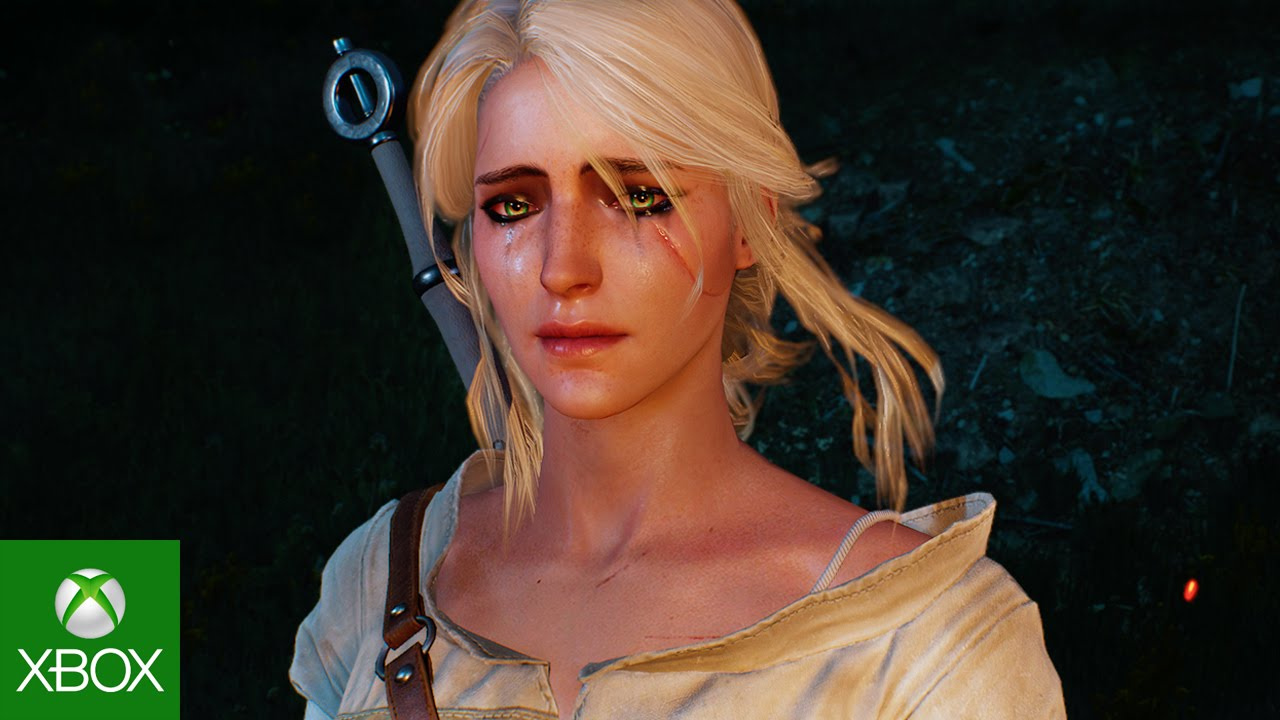 Close up view of Ciri crying in the dark