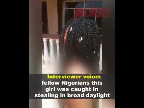 Nigerian yoruba lady stripped naked for stealing