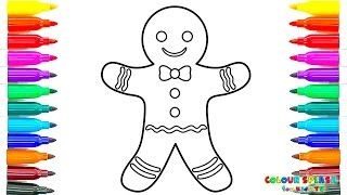 Coloring Pages And Drawing Gingerbread Man | Art Colours For Kids With Colored Markers