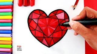 Cómo Dibujar Un CORAZÓN DE DIAMANTE (paso A Paso) | How To Draw A Heart Diamond Easy
