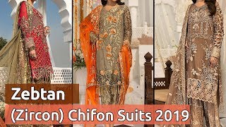 Latest Zebtan Designer Embroidered Chiffon Stylish Pakistani Dresses With Prices